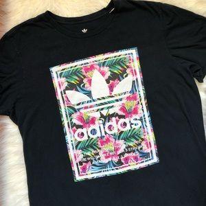 Adidas Black Floral Logo Tee Shirt